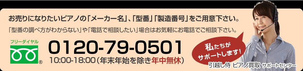 お売りになりたいピアノの「メーカー名」、「型番」「製造番号」をご用意下さい。「型番の調べ方がわからない」や「電話で相談したい」場合はお気軽にお電話でご相談下さい。0120-79-0501 9:00-20:00(年末年始を除き年中無休)